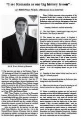Primul interviu acordat de Principele Nicolae unui istoric, pentru revista Royalty Digest Quarterly, December 2010